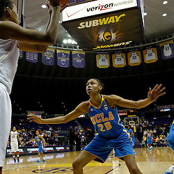 December 13, 2011; Baton Rouge, LA; UCLA Bruins forward Rhema Gardner (20) defends the inbound pass against LSU Lady Tigers forward Krystal Forthan (12) during the second half of a game at the Pete Maravich Assembly Center. LSU defeated UCLA 58-41. Mandatory Credit: Derick E. Hingle-US PRESSWIRE
