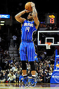 Dec. 28, 2010; Cleveland, OH, USA; Orlando Magic point guard Jameer Nelson (14) shoots a jump shot during the fourth quarter against the Cleveland Cavaliers at Quicken Loans Arena. The Magic beat the Cavaliers 110-95. Mandatory Credit: Jason Miller-US PRESSWIRE