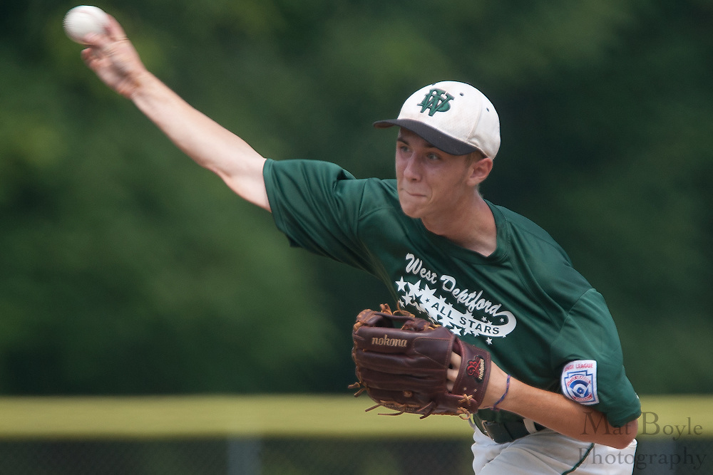 West Deptford's Ty Castellano pitches in the 1st inning during a elimination bracket game of the Eastern Regional Senior League tournament held in West Deptford on Sunday, August 7.