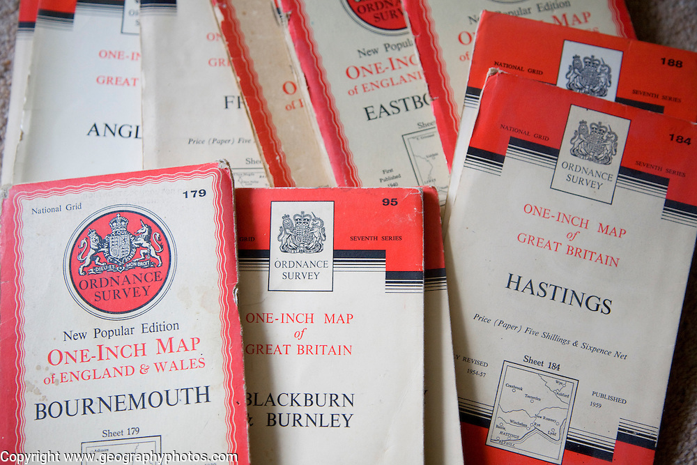 Old one inch Ordnance Survey maps from the 1950s, UK