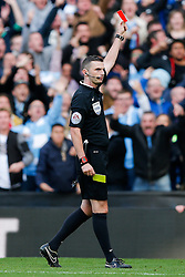 Chris Smalling of Manchester United is shown a red card by referee Michael Oliver - Photo mandatory by-line: Rogan Thomson/JMP - 07966 386802 - 02/11/2014 - SPORT - FOOTBALL - Manchester, England - Etihad Stadium - Manchester City v Manchester United - Barclays Premier League.