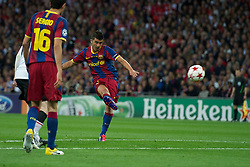 28-05-2011 VOETBAL: CHAMPIONS LEAGUE FINAL FC BARCELONA - MANCHESTER UNITED: LONDON<br /> David Villa scores the third goal against Manchester United <br /> ***NETHERLANDS ONLY***<br /> ©2011- FotoHoogendoorn.nl/nph/Chris Brunskill