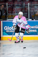 KELOWNA, CANADA - OCTOBER 14: Tanner Wishnowski #9 of Kelowna Rockets warms up against the Red Deer Rebels on October 14, 2015 at Prospera Place in Kelowna, British Columbia, Canada.  (Photo by Marissa Baecker/Shoot the Breeze)  *** Local Caption *** Tanner Wishnowski;