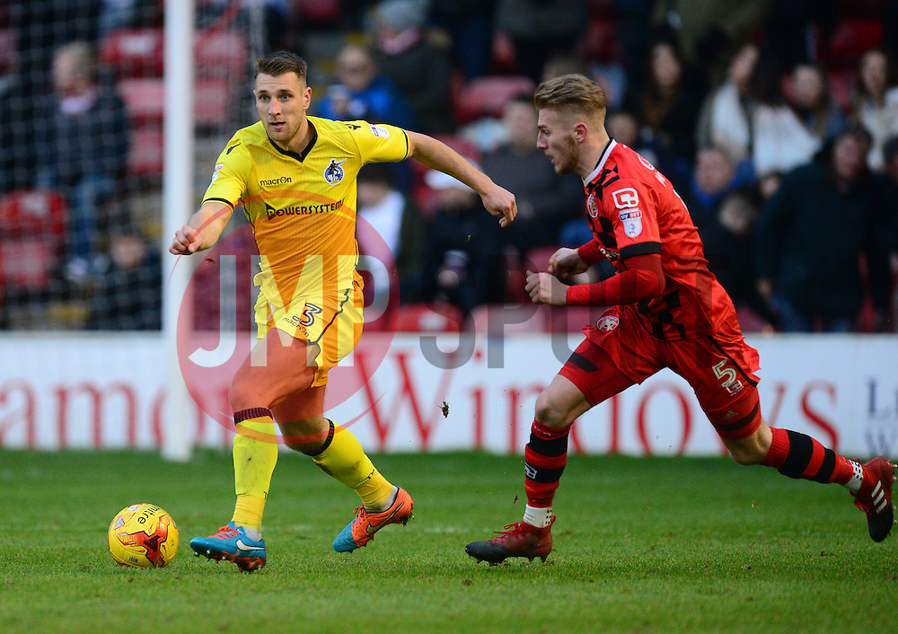 Lee Brown of Bristol Rovers under pressure from Jason McCarthy of Walsall - Mandatory by-line: Alex James/JMP - 21/01/2017 - FOOTBALL - Banks's Stadium - Walsall, England - Walsall v Bristol Rovers - Sky Bet League One