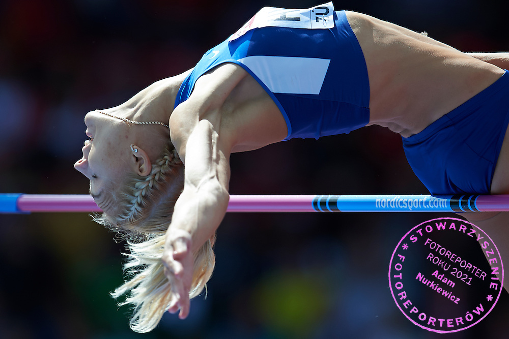 Eleriin Haas from Estonia competes in women's high jump qualification during the Fourth Day of the European Athletics Championships Zurich 2014 at Letzigrund Stadium in Zurich, Switzerland.<br /> <br /> Switzerland, Zurich, August 15, 2014<br /> <br /> Picture also available in RAW (NEF) or TIFF format on special request.<br /> <br /> For editorial use only. Any commercial or promotional use requires permission.<br /> <br /> Photo by &copy; Adam Nurkiewicz / Mediasport