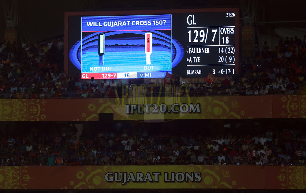 Gaint Screen during match 35 of the Vivo 2017 Indian Premier League between the Gujarat Lions and the Mumbai Indians  held at the Saurashtra Cricket Association Stadium in Rajkot, India on the 29th April 2017<br /> <br /> Photo by Sandeep Shetty - Sportzpics - IPL