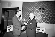 12/07/1967<br /> 07/12/1967<br /> 12 July 1967<br /> Sheaffer trophies Reception for Rosslare Golf Club at the Central Hotel, Dublin. Picture shows Mr B.J. Fitzpatrick, managing director of B.J. Fitzpatrick and Co. Ltd., presenting the Shearer Rose Bowl for 1967 to the captain of Rosslare Golf Club, Mr Edmond Wheeler. The troops (and 10 others) were for the Sheaffer sponsored August Monday competitions at Rosslare. Winner of the 1966 competition was A.H. Morrow of the Malone Club, Belfast. The Rosslare Club had recently been extended at a cost of €12,000.