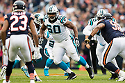 CHICAGO, IL - OCTOBER 22:  Daryl Williams #60 of the Carolina Panthers run blocks during a game against the Chicago Bears at Soldier Field on October 22, 2017 in Chicago, Illinois.  The Bears defeated the Panthers 17-3.  (Photo by Wesley Hitt/Getty Images) *** Local Caption *** Daryl Williams