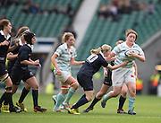 Twickenham, United Kingdom. Hooker, Jessica CHARLTON  hands off Catherine WILCOCK, during the 2015 Women's Varsity Match, Oxford vs Cambridge, RFU Twickenham Stadium, England.<br /> <br /> Thursday  10/12/2015<br /> <br /> [Mandatory Credit. Peter SPURRIER/Intersport Images].
