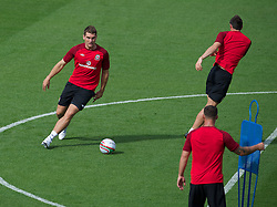 LLANELLI, WALES - Tuesday, August 14, 2012: Wales' Sam Vokes during a training session at Parc y Scarlets ahead of the international friendly match against Bosnia-Herzegovina. (Pic by David Rawcliffe/Propaganda)