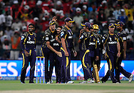 Morne Morkel of the Kolkata Knight Riders celebrates the wicket of George Bailey captain of the Kings X1 Punjab during match 15 of the Pepsi Indian Premier League 2014 Season between The Kings XI Punjab and the Kolkata Knight Riders held at the Sheikh Zayed Stadium, Abu Dhabi, United Arab Emirates on the 26th April 2014<br /> <br /> Photo by Pal Pillai / IPL / SPORTZPICS