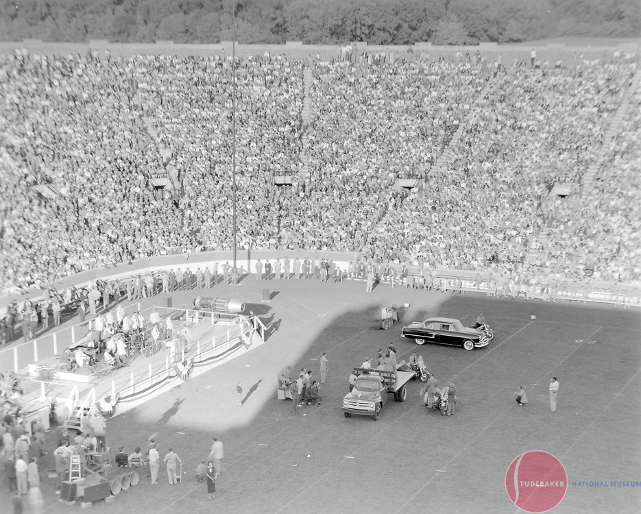 Studebaker-Packard merger rally at Notre Dame Stadium, October 1954.