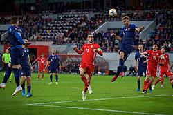 TRNAVA, SLOVAKIA - Thursday, October 10, 2019: Wales' captain Gareth Bale (L) and Slovakia's Norbert Gyömber during the UEFA Euro 2020 Qualifying Group E match between Slovakia and Wales at the Štadión Antona Malatinského. (Pic by David Rawcliffe/Propaganda)