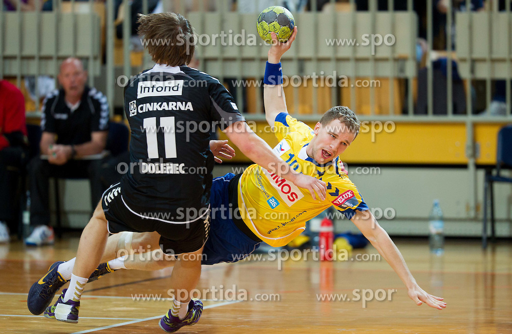 Tine Poklar of Koper during handball match between RK Cimos Koper and RK Gorenje Velenje in 25th Round of 1st NLB Leasing League 2011/12, on March 31, 2012 at Arena Bonifika, Koper, Slovenia. (Photo by Vid Ponikvar / Sportida.com)