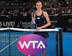 January 6, 2019 - Brisbane, AUSTRALIA - Karolina Pliskova of the Czech Republic with the winners trophy after the final of the 2019 Brisbane International WTA Premier tennis tournament (Credit Image: © AFP7 via ZUMA Wire)