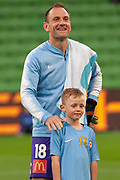MELBOURNE, VIC - NOVEMBER 09: Melbourne City goalkeeper Eugene Galekovic (18) smiles at fans at the Hyundai A-League Round 4 soccer match between Melbourne City FC and Wellington Phoenix on November 09, 2018 at AAMI Park in Melbourne, Australia. (Photo by Speed Media/Icon Sportswire)