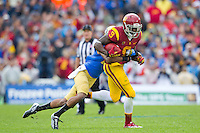 17 October 2012: Wide receiver (9) Marqise Lee of the USC Trojans catches a pass against the UCLA Bruins during the second half of UCLA's 38-28 victory over USC at the Rose Bowl in Pasadena, CA.