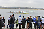 San Diego, California. USA. General Views, Crew Racing, Spectators watch from the Beach. 2013 Crew Classic Regatta, Mission Bay.  08:26:04.  Saturday  06/04/2013   [Mandatory Credit. Peter Spurrier/Intersport Images]  ..