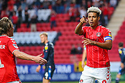 Charlton Athletic forward Lyle Taylor (9) celebrates after scoring a goal (1-0) during the EFL Sky Bet Championship match between Charlton Athletic and Nottingham Forest at The Valley, London, England on 21 August 2019.