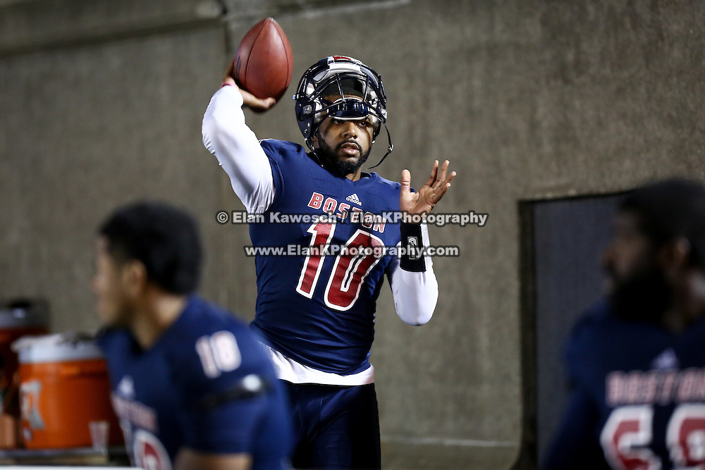 Tajh Boyd #10 of the Boston Brawlers stays warm on the sideline during the first ever Boston Brawlers home game at Harvard Stadium on October 24, 2014 in Boston, Massachusetts. (Photo by Elan Kawesch)