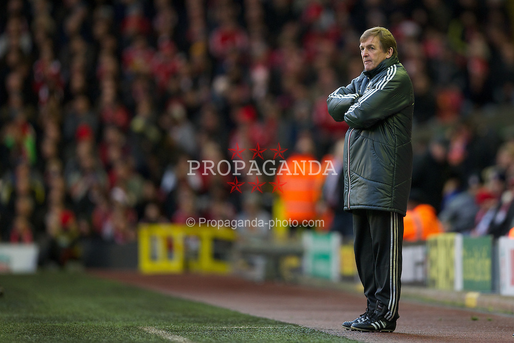 LIVERPOOL, ENGLAND - Saturday, December 10, 2011: Liverpool's manager Kenny Dalglish during the Premiership match against Queens Park Rangers at Anfield. (Pic by David Rawcliffe/Propaganda)