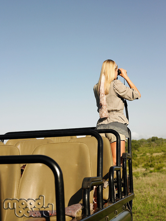 Young woman on safari standing in jeep looking through binoculars back view