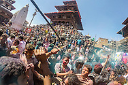 Kathmandu, Nepal. 5th March 2015. Revellers in Durbar Square celebrate the Holi Festival a spring festival also known as the festival of colours or the festival of love. It is an ancient Hindu religious festival which is celebrated by throwing powdered paint and water. The festival signifies the victory of good over evil, the arrival of spring and the end of winter.
