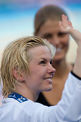 Winner Britta Steffen of Germany at victory ceremony after Women's  100m Freestyle Final during the 13th FINA World Championships Roma 2009, on July 31, 2009, at the Stadio del Nuoto,  in Foro Italico, Rome, Italy. (Photo by Vid Ponikvar / Sportida)