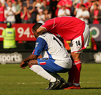 Photo:  Frances Leader, Digitalsport<br /> Charlton Athletic v Crystal Palace. The Barclays Premiership. <br /> The Valley.<br /> 15/05/05<br /> Charlton's Jerome Thomas conforts Palace's Mike Leigertwood as Palace are relagated to the first division.