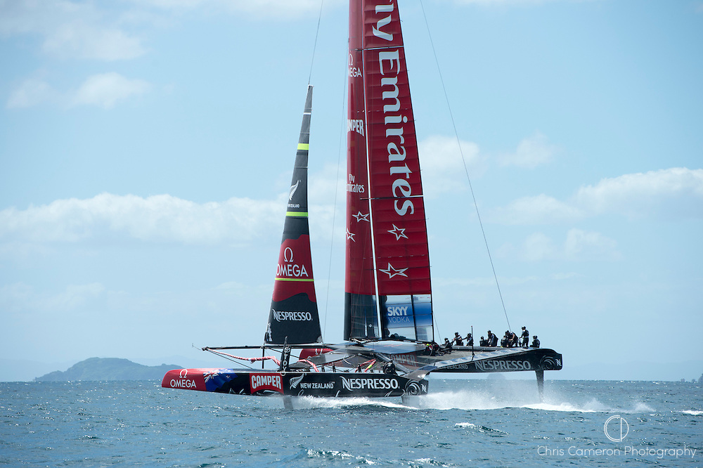 Emirates Team New Zealand, NZL5 takes to the air again on its second day sailing in Auckland. 14/2/2013