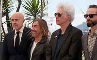 Fernando Sulichin, Iggy Pop, Director Jim Jarmusch and Carter Logan at the Gimme Danger film photo call at the 69th Cannes Film Festival Thursday 19th May 2016, Cannes, France. Photography: Doreen Kennedy