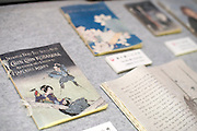 Photo shows pages of the original editions of works by Lacadio Hearn at  the Lafcadio Hearn museum in Matsue, Shimane Prefecture, Japan on 05 Nov. 2012. Photographer: Robert Gilhooly.