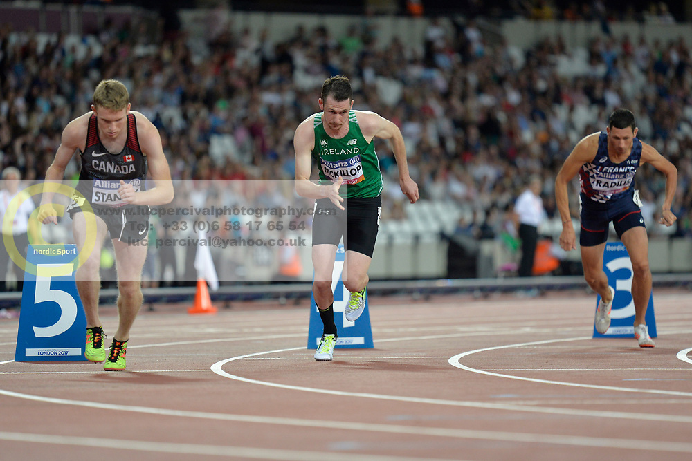 16/07/2017 : Michael McKillop (IRL), Liam Stanley (CAN), Louis Radius (FRA), Men's 800m, T38, Final, at the 2017 World Para Athletics Championships, Olympic Stadium, London, United Kingdom