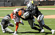 Sep 30, 2018; Oakland, CA, USA;  Brown running back Carlos Hyde (34) is pushed out of bounds by Raider linebacker Tahir Whitehead (59) after a 5 yard gain in a game between the Oakland Raiders and the Cleveland Browns. The Raiders defeated the Browns 45-42 in overtime. Mandatory Credit: Spencer Allen-Image of Sport