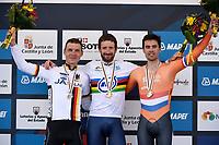 Sykkel<br /> UCI VM 2014<br /> Ponferrada Spania<br /> 24.09.2014<br /> Temporitt menn senior<br /> Foto: PhotoNews/Digitalsport<br /> NORWAY ONLY<br /> <br /> Martin Tony of Omega Pharma - Quick-Step (GER) - WIGGINS Bradley of Sky Team (GBR) - DUMOULIN Tom of Team Giant-Shimano (NED) pictured during the Men Elite Individual Time Trial of the UCI Road World Championships in Ponferrada, Spain.
