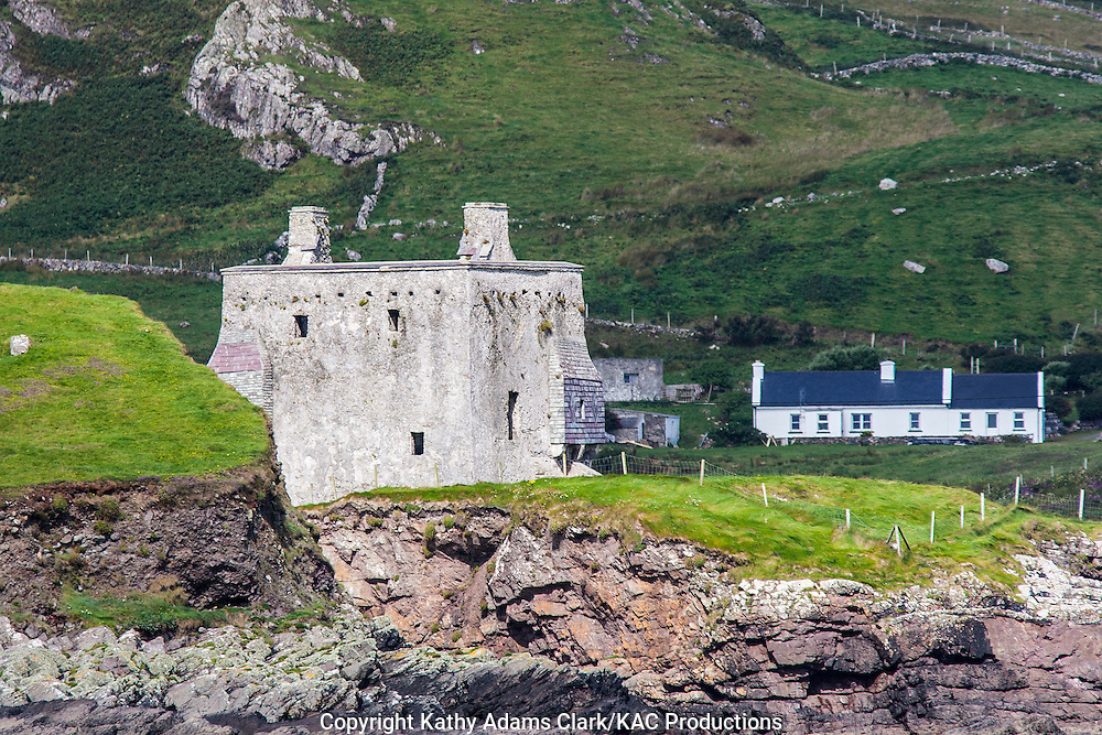 Granuaile's Castle facing Clew Bay, on Clare Island off coast of western Ireland.