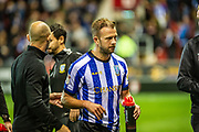 Sheffield Wednesday Jordan Rhodes during the EFL Cup match between Rotherham United and Sheffield Wednesday at the AESSEAL New York Stadium, Rotherham, England on 28 August 2019.