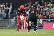 Leicestershire Foxes Ben Mike run out by Lancashire Lightnings Dane Vilas (Capt)& (Wicket Keeper)  during the Vitality T20 Blast North Group match between Lancashire Lightning and Leicestershire Foxes at the Emirates, Old Trafford, Manchester, United Kingdom on 30 August 2019.