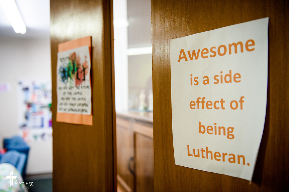 The entrance to the young adult ministry area on Sunday, Sept. 24, 2017, at Faith Lutheran Church, York, Neb. LCMS Communications/Erik M. Lunsford