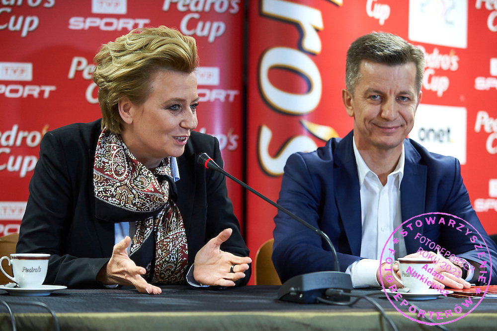 (L) Hanna Zdanowska the mayor of City Lodz speaks and (R) Krzysztof Klimczak - President of Board Strauss Cafe Polska during press conference one day before athletics meeting Pedro's Cup at Atlas Arena in Lodz, Poland.<br /> <br /> Poland, Lodz, February 16, 2015<br /> <br /> Picture also available in RAW (NEF) or TIFF format on special request.<br /> <br /> For editorial use only. Any commercial or promotional use requires permission.<br /> <br /> Adam Nurkiewicz declares that he has no rights to the image of people at the photographs of his authorship.<br /> <br /> Mandatory credit:<br /> Photo by &copy; Adam Nurkiewicz / Mediasport