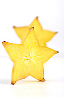 Carambola on white background - slices