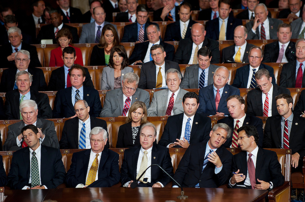 "Republicans sit stoicly as President Barack Obama addresses a Joint Session of Congress Thursday night proposing a $447 billion jobs package composed of tax cuts, aid to states and infrastructure spending. The President challenged Congress to shut down the ""political circus"" and pass what he called the American Jobs Act as soon as possible."