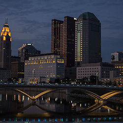 The sun sets on the Columbus skyline July 30th, 2012. (Christina Paolucci, photographer).