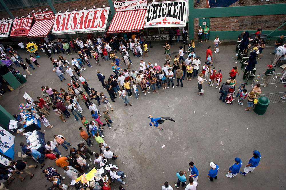 "(Boston, MA - July 5, 2008) -  A break dancer performs inside Fenway Park's Gate B during the second annual Latino Day hosted by ""El Mundo,"" Boston's Spanish language newspaper...Staff Photo Will Nunnally/Boston Red Sox"