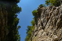 Rock, cliff edge, Ausable Chasm, New York.