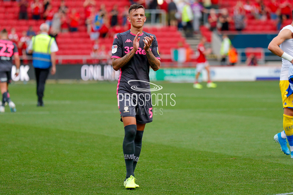 Leeds United defender Ben White (5), on loan from Brighton & Hove Albion, applauds the fans after the victory in the EFL Sky Bet Championship match between Bristol City and Leeds United at Ashton Gate, Bristol, England on 4 August 2019.