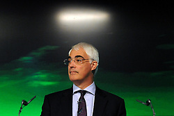 19/04/2010 Alistair Darling pictured at a Labour Party press conference on the economy held today at Bloomberg in Finsbury Square London