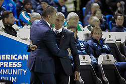Brighton and Hove Albion Manager Chris Hughton greets Bristol City's Manager Steve Cotterill - Mandatory byline: Jason Brown/JMP - 07966 386802 - 20/10/2015 - FOOTBALL - American Express Community Stadium - Brighton,  England - Brighton & Hove Albion v Bristol City - Championship