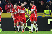 Middlesbrough FC celebrate goal scored by Middlesbrough FC midfielder Grant Leadbitter  to go 1-3 during the EFL Sky Bet Championship match between Hull City and Middlesbrough at the KCOM Stadium, Kingston upon Hull, England on 31 October 2017. Photo by Ian Lyall.