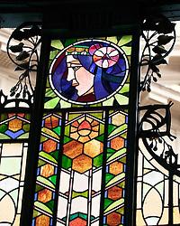 Prague, Czech Republic:  Dettail of the superb Art Nouveau stained glass that decorates the Municipal House, home to the Prague Symphony Orchestra.
